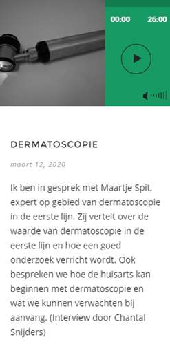 Podcast over dermatoscopie op Huisartspodcast.nl